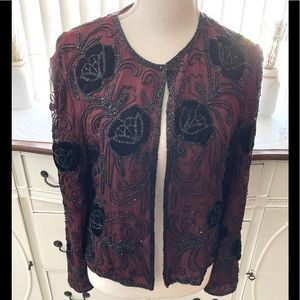 Vintage Papell Boutique Red & Black Jacket Small